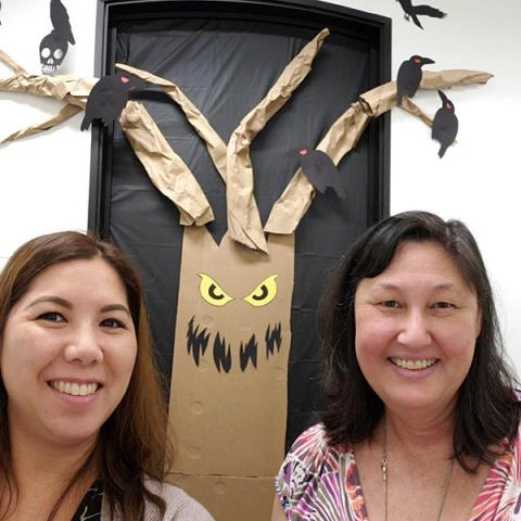 Thanks for the great idea @rae_nell. We are an awesome team of 2. Love our Halloween door! #kpit @kphawaii #kpthrive #thrivewithaloha